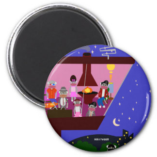 Sock Monkey Party Too 6 Cm Round Magnet
