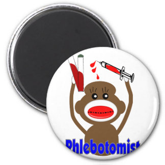 Sock Monkey Phlebotomist Gifts--Adorable 6 Cm Round Magnet