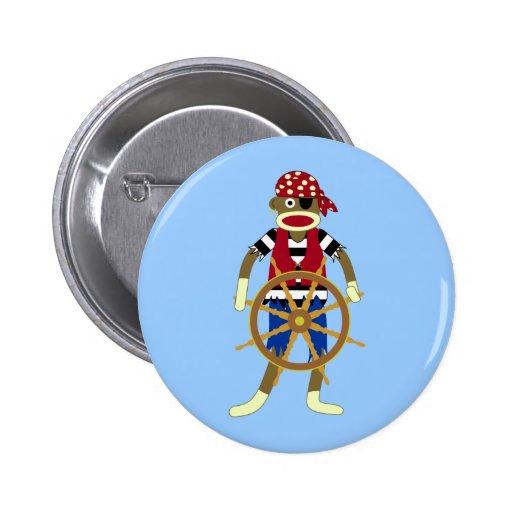 Sock Monkey Pirate 6 Cm Round Badge