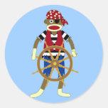 Sock Monkey Pirate Classic Round Sticker