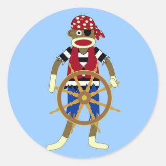 Sock Monkey Pirate Round Sticker