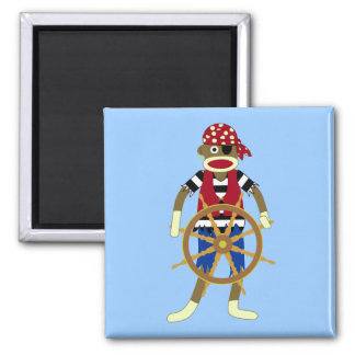 Sock Monkey Pirate Square Magnet