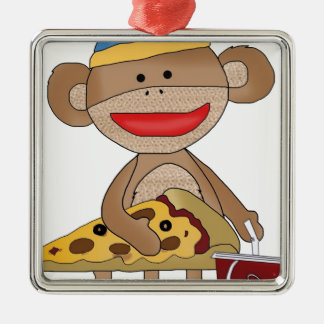 Sock monkey pizza and a soda christmas ornament