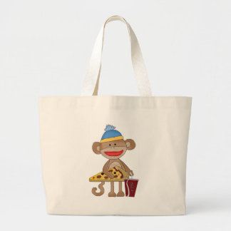Sock monkey pizza and a soda large tote bag