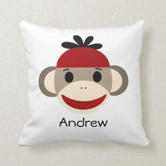 Sock Monkey & Plaid Throw Pillow