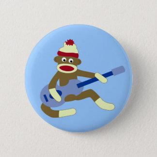 Sock Monkey Playing Blue Guitar 6 Cm Round Badge
