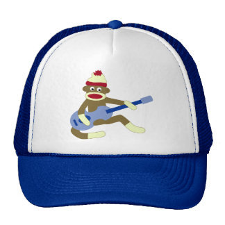 Sock Monkey Playing Blue Guitar Cap