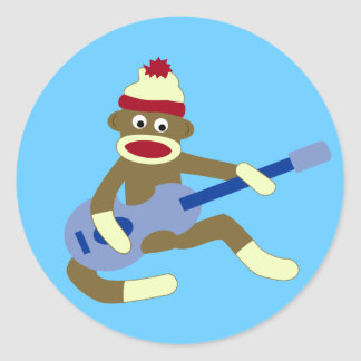 Sock Monkey Playing Blue Guitar Round Sticker