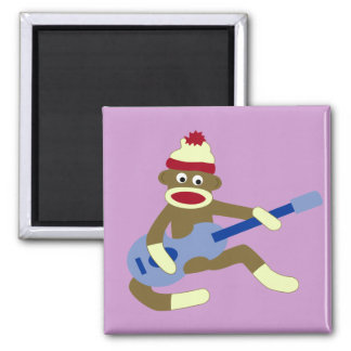 Sock Monkey Playing Blue Guitar Square Magnet
