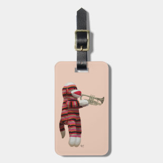 Sock Monkey Playing Trumpet 2 Luggage Tag