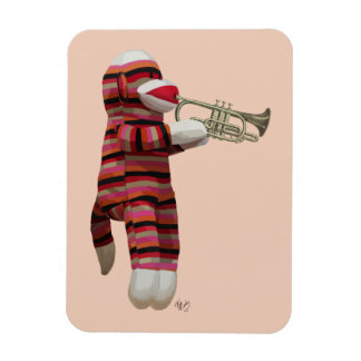 Sock Monkey Playing Trumpet 2 Magnet