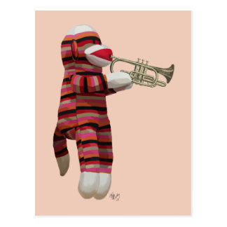 Sock Monkey Playing Trumpet 2 Postcard