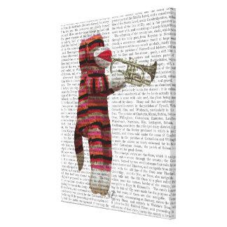 Sock Monkey Playing Trumpet Canvas Print