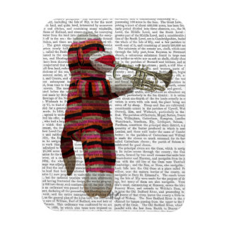 Sock Monkey Playing Trumpet Magnet