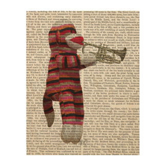 Sock Monkey Playing Trumpet Wood Wall Art