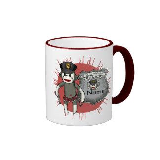 Sock Monkey Police Ringer Mug