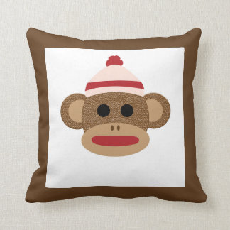 "Sock Monkey Polyester Throw Pillow 16"" x 16"""
