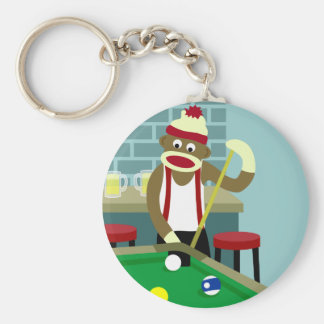 Sock Monkey Pool Billiards Player Basic Round Button Key Ring