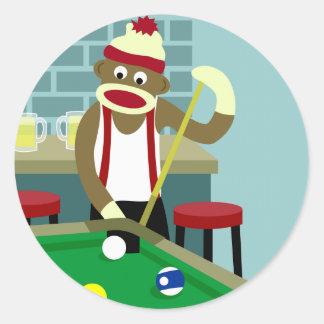 Sock Monkey Pool Billiards Player Classic Round Sticker
