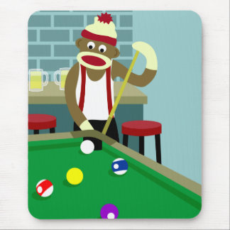 Sock Monkey Pool Billiards Player Mouse Mat