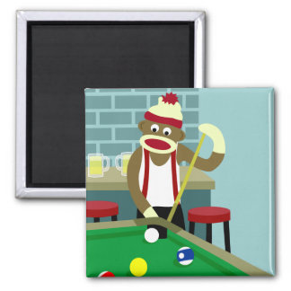 Sock Monkey Pool Billiards Player Square Magnet