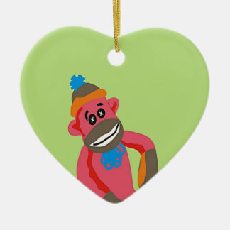 Sock Monkey Pop Art Add Name Text Christmas Ornament