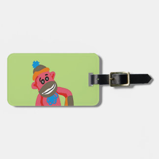 Sock Monkey Pop Art Add Name Text Luggage Tag