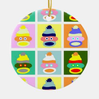 Sock Monkey Pop Art Christmas Ornament