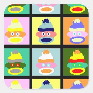 Sock Monkey Pop Art Square Sticker