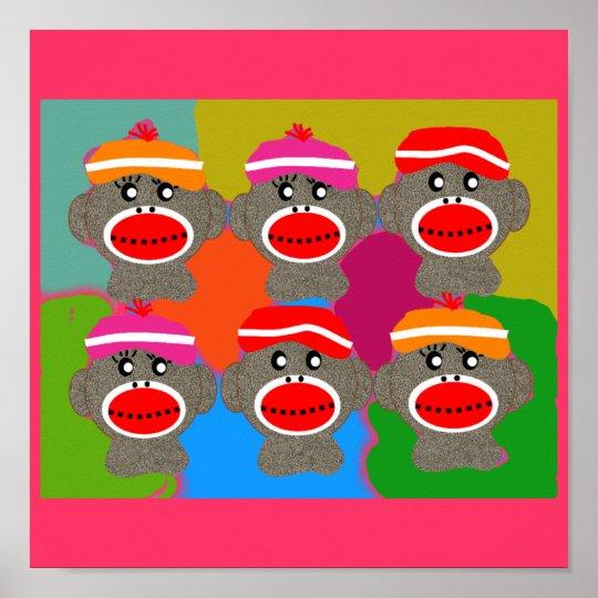 Sock Monkey Poster--Popart--6 Monkeys Poster