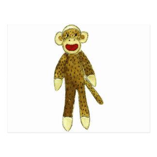 sock monkey red lips postcard