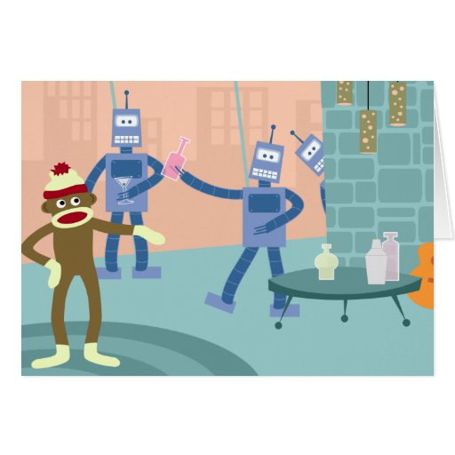 Sock Monkey Robot Cocktail Party Greeting Cards