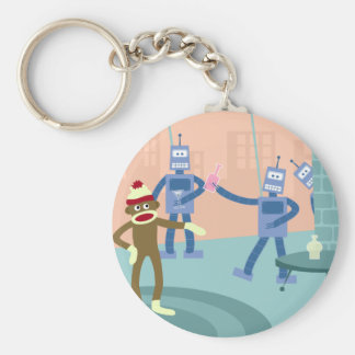 Sock Monkey Robot Cocktail Party Key Ring