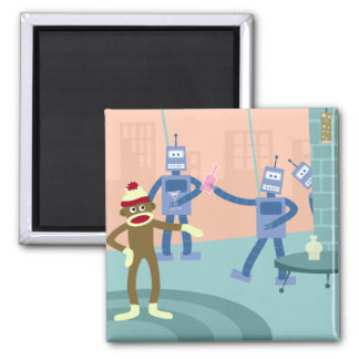 Sock Monkey Robot Cocktail Party Square Magnet