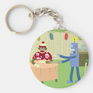 Sock Monkey Robot Waiter Key Ring