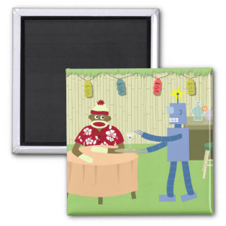 Sock Monkey Robot Waiter Square Magnet