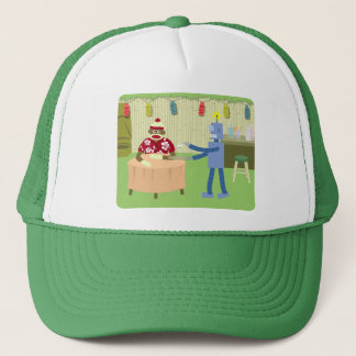 Sock Monkey Robot Waiter Trucker Hat
