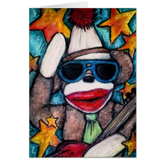 Sock Monkey Rock Star Greeting Card