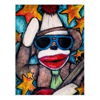 Sock Monkey Rock Star Postcard