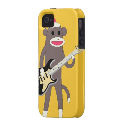 Sock Monkey Rocks w/ Electric Guitar - Iphone 4/4S Vibe iPhone 4 Cases