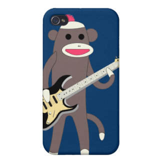 Sock Monkey Rocks w/ Electric Guitar - Iphone 4/4S Cover For iPhone 4