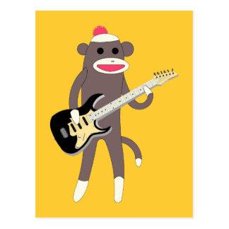 Sock Monkey Rocks w/ Electric Guitar Postcard