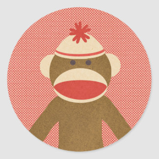 Sock Monkey Round Sticker