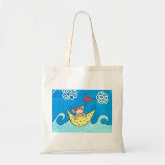 Sock monkey sailing y'all tote bag