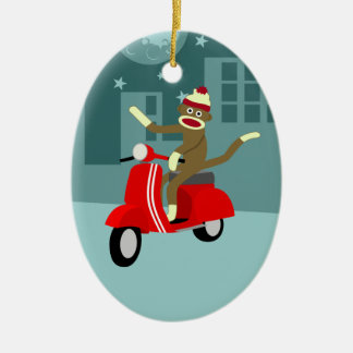 Sock Monkey Scooter Christmas Ornament