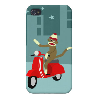 Sock Monkey Scooter iPhone 4/4S Cases