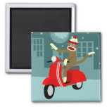 Sock Monkey Scooter Square Magnet