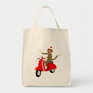 Sock Monkey Scooter Canvas Bags