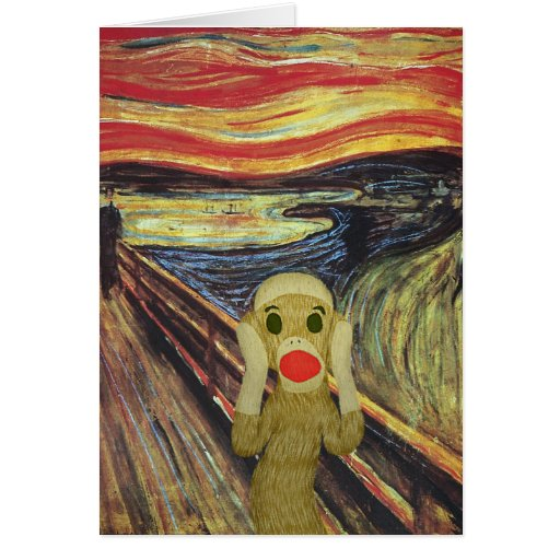 Sock Monkey Scream card