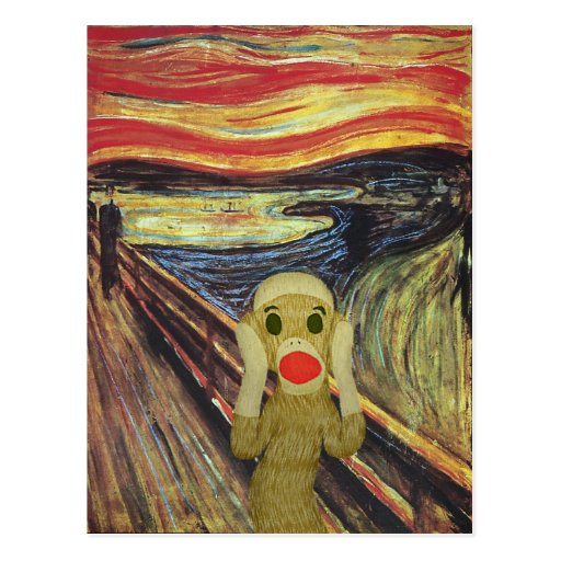 Sock Monkey Scream postcard